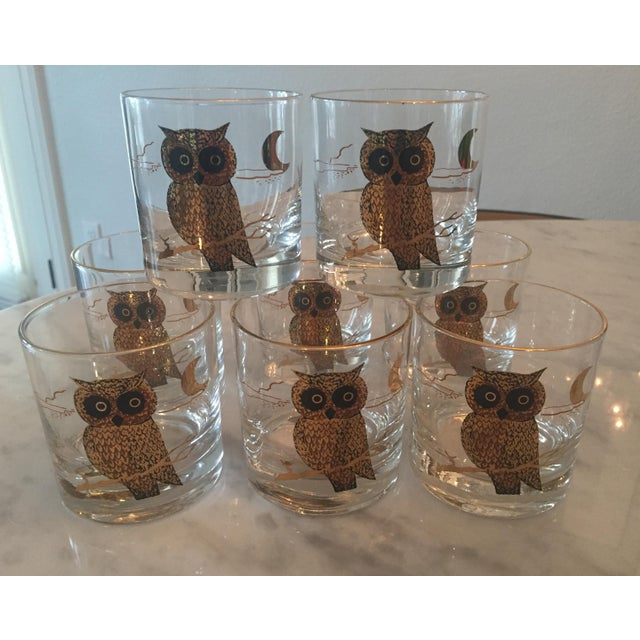 1960s Couroc of Monterey Owl Glasses - Set of 8 For Sale - Image 4 of 8