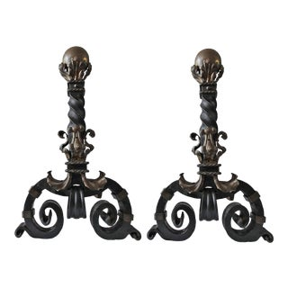 Early 20th Century Beaux Arts Style Forged Iron and Brass Andirons With Tools - a Pair For Sale