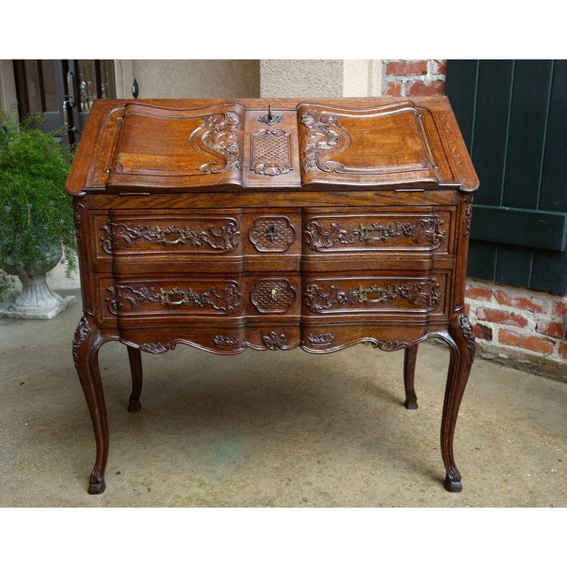 French Antique French Carved Oak Secretary Desk For Sale - Image 3 of 11