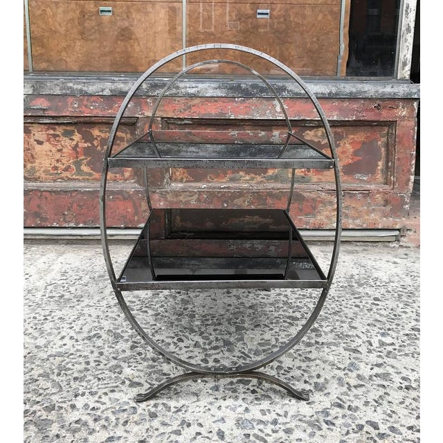 1930s Art Deco Etched Steel and Cobalt Glass Two-Tier Side Table For Sale - Image 4 of 9