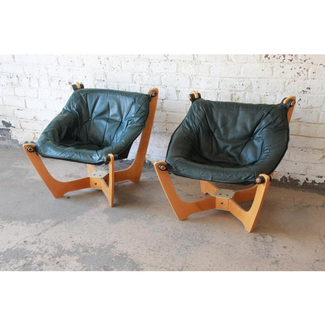 Mid 20th Century Odd Knutsen Teak Luna Chairs in Green Aniline Leather - a Pair For Sale - Image 5 of 12