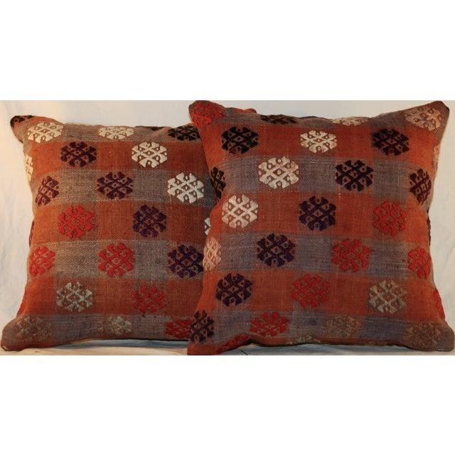 Vintage Handmade Kilim Pillows - a Pair - Image 3 of 7