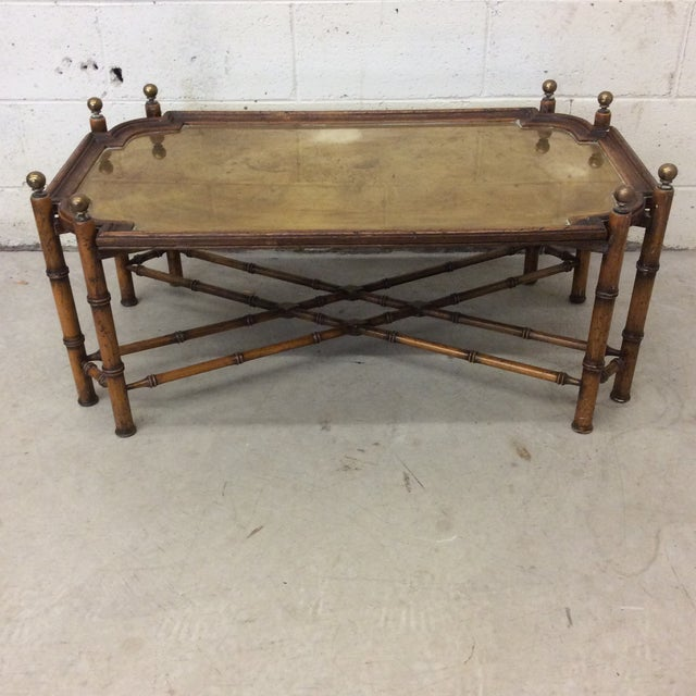 Chinese Chippendale Faux Bamboo and Brass Tray Coffee Table by Sarreid For Sale - Image 11 of 11