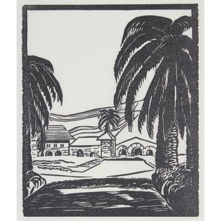With Palm Trees and Hills Print by Mary Watterick Evans For Sale