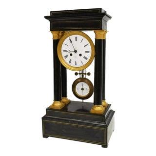 French Napoleon III Period Ebonized Brass Inlaid Portico Clock For Sale