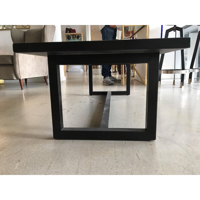 Contemporary Coffee Table With Etched Metal Inlay and Ebonized Wood Frame For Sale - Image 11 of 12