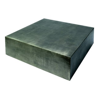 Molten Ingot Square Outdoor Cocktail Table, Silver For Sale