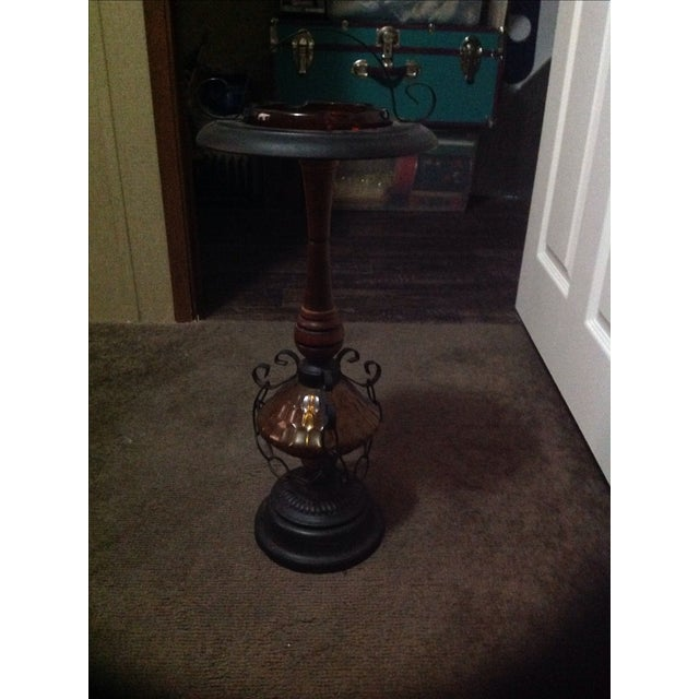 Amber Glass & Cast Iron Smoking Stand - Image 4 of 4