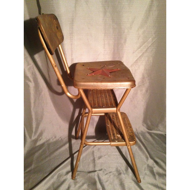 Rustic Primitive Country Kitchen Metal Star Step Stool For Sale - Image 4 of 7