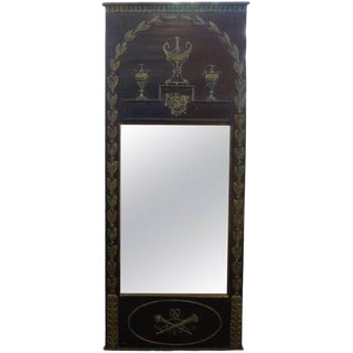1920s French Empire Style Ebonized and Painted Mirror For Sale