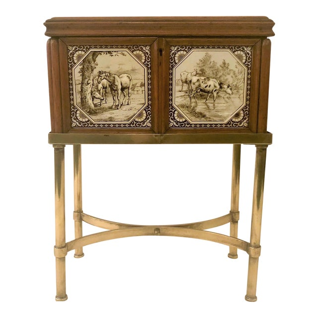 Antique English Humidor on Stand Inlaid With Minton Porcelain Tiles Depicting Horses and Livestock Scenes, Circa 1860-1880. For Sale