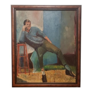 Mid-Century Modern Man in Chair Painting For Sale