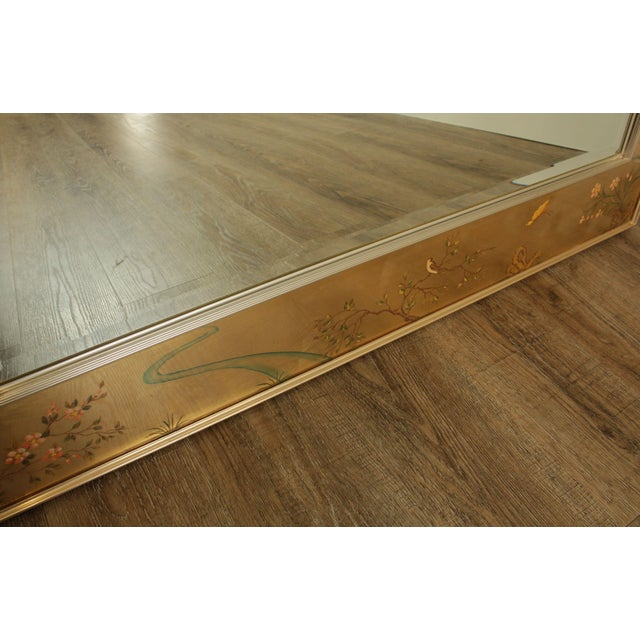 Metal LaBarge Gold Chinoiserie Eglomise Reverse Painted Mirror For Sale - Image 7 of 13