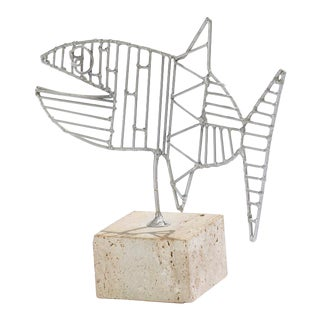 Vintage Georges Braque Style Aluminum on Travertine Fish Sculpture For Sale