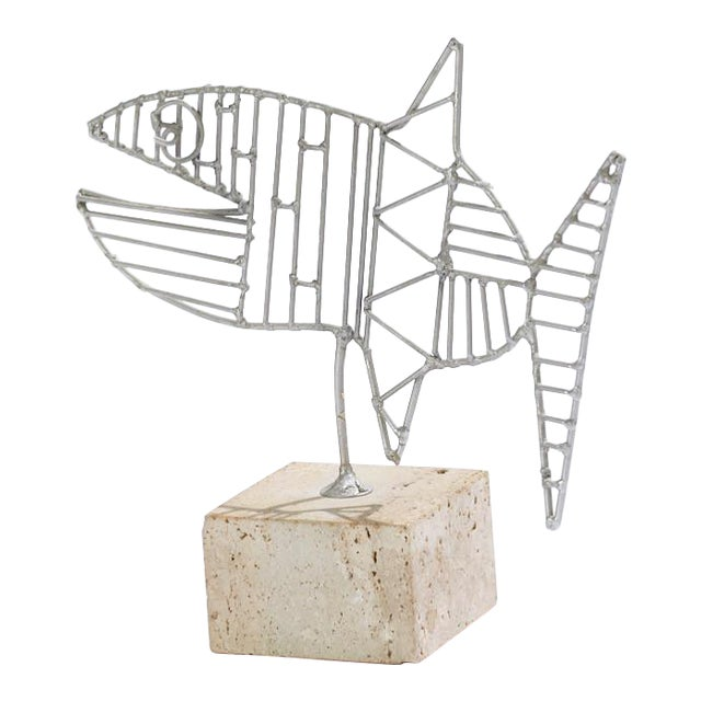 Vintage Georges Braque Style Aluminum on Travertine Fish Sculpture For Sale