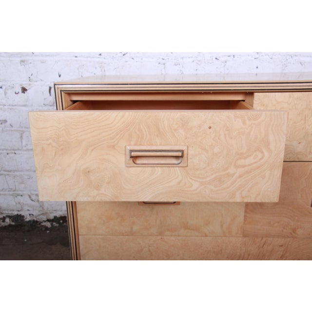Ash Burl Wood Long Dresser Credenza by Henredon For Sale - Image 7 of 13