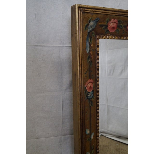 Floral Hand Painted Gilt Frame Beveled Wall Mirror For Sale - Image 5 of 10