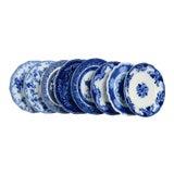 Image of Vintage Mixed Flow Blue Dinner Plates - Set of 8 For Sale