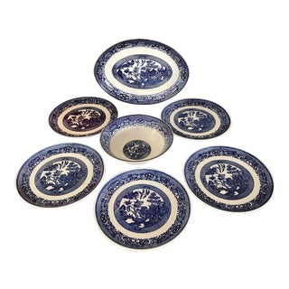 Blue Willow Transfer Ware Serving Pieces and Plates- Set of 7 For Sale