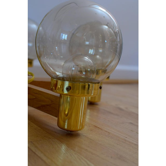 Mid Century 5 Arm Wood and Brass Chandelier With Globe Bulbs For Sale In Washington DC - Image 6 of 11