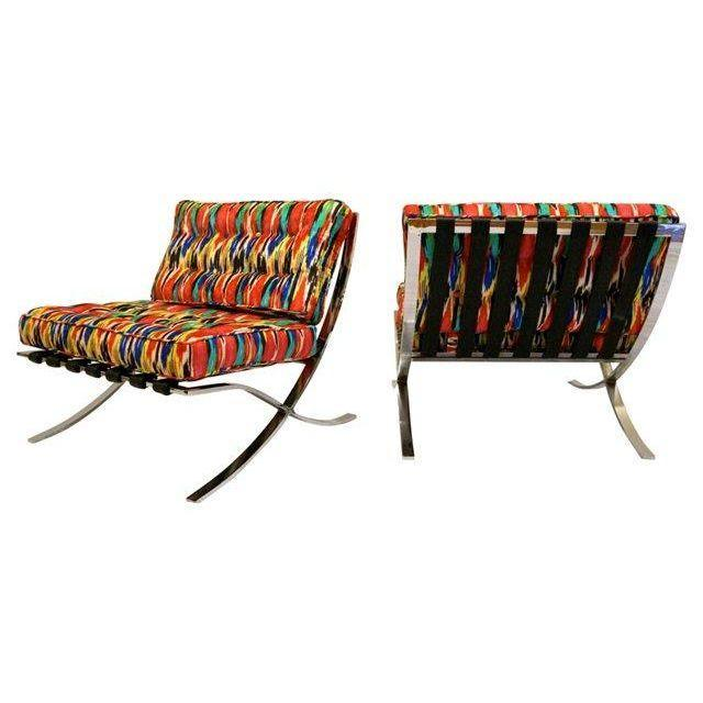 Mid-Century Modern Barcelona Style Chairs - Pair - Image 4 of 7