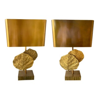 Pair of Lamps Guadeloupe by Maison Charles, Bronze, 1970s, France For Sale