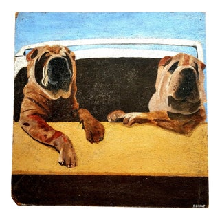 1970s Mid-Century Painting of Dogs For Sale