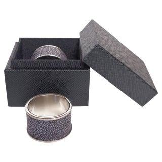 Set of Two Black Shagreen Napkin Rings by Fabio Ltd For Sale