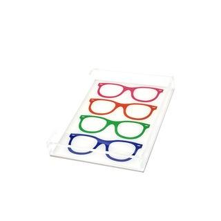 Lucite Multi-Color Glasses Tray For Sale