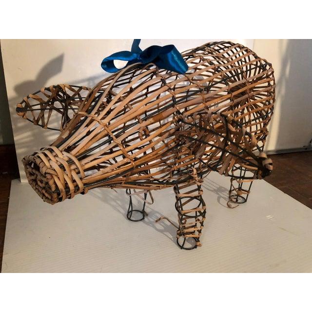 Vintage Wicker Decorative Pig Metal Art For Sale - Image 4 of 9