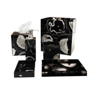 Black And White Agate Bath Set Accessories - 6 Pieces For Sale