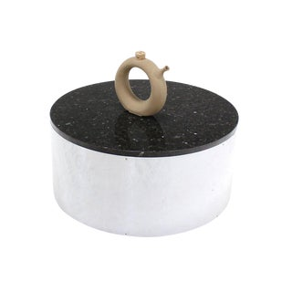 Round Cylinder Shape Chrome and Granite Top Coffee Table For Sale