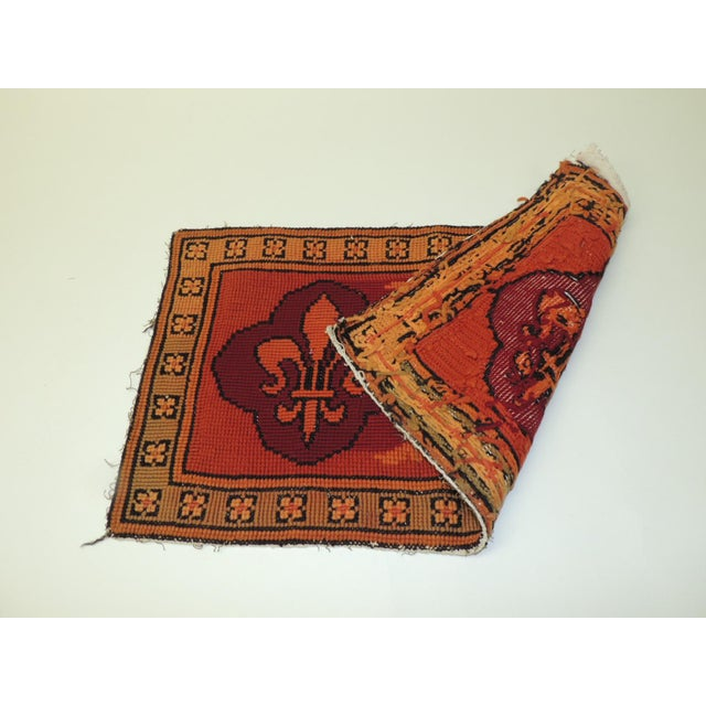 Baroque Vintage Fleur De Lis Yellow and Red Tapestry For Sale - Image 3 of 5