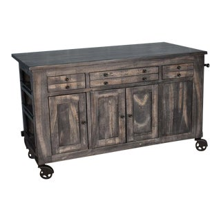 Crafters and Weavers Sawyer Parota Wood Kitchen Island For Sale