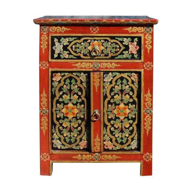 Tibetan Orange Red Black Floral End Table Nightstand For Sale