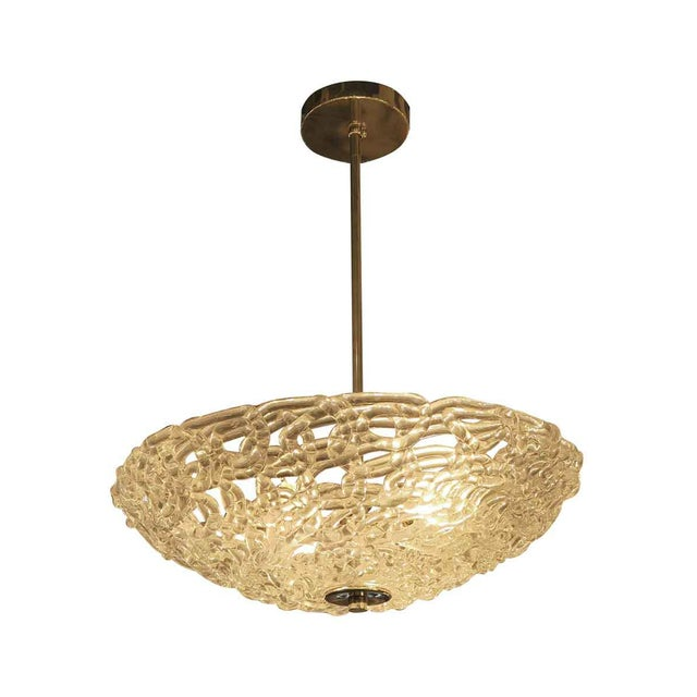 Blown glass contemporary dish light with lattice styling. A brass or nickel fixture is available, please inquire.