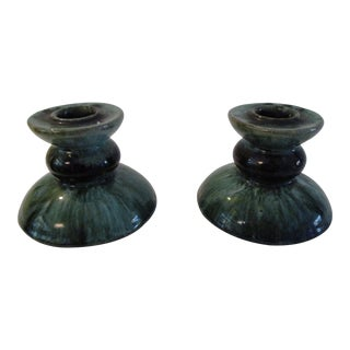 Mid-Century Blue Mountain Green Pottery Candle Holders - a Pair For Sale