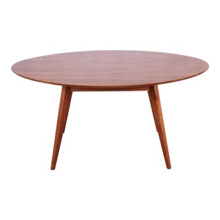 Jens Risom for Knoll Walnut Elliptical Dining or Game Table For Sale