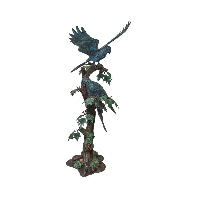 Cold Painted Bronze Large Statue of Jungle Birds on a Tree For Sale