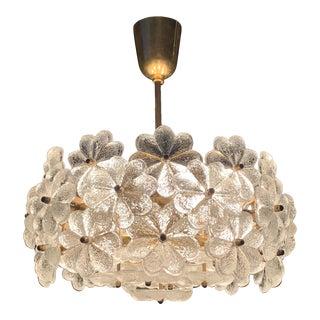 Small Ernst Palme Floral Glass Chandelier For Sale