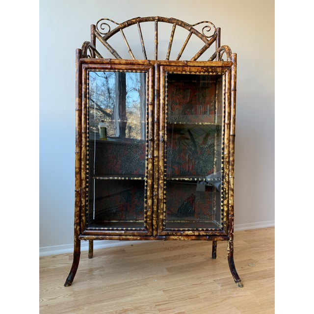 Antique Burnt Bamboo Etagere With Glass Front For Sale - Image 10 of 10