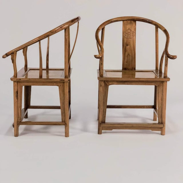 Elm Mid-Century Modern Elm & Mahogany Yoke Back Chairs - a Pair For Sale - Image 7 of 7