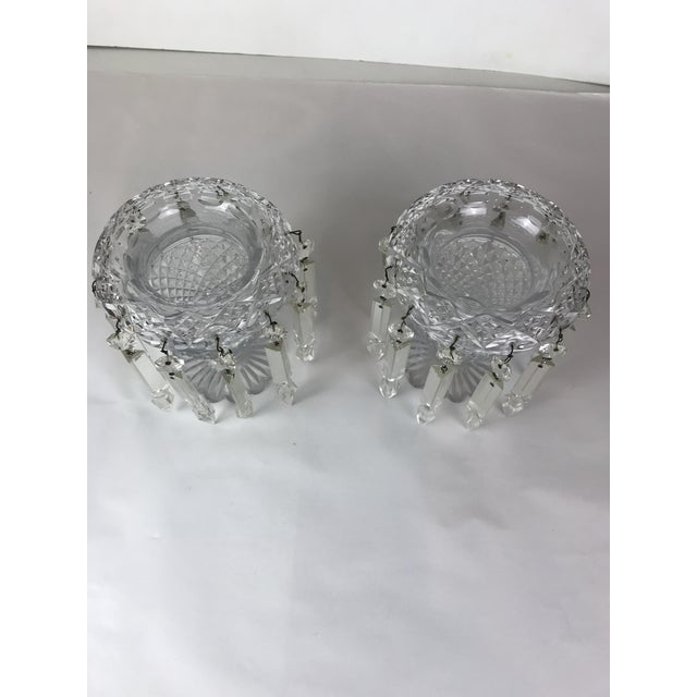 Transparent Vintage Crystal Girandoles /Luster Candle Holders - a Pair For Sale - Image 8 of 12