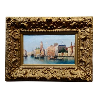 Henri Carnier -19th Century View of Venice -OIl Painting For Sale