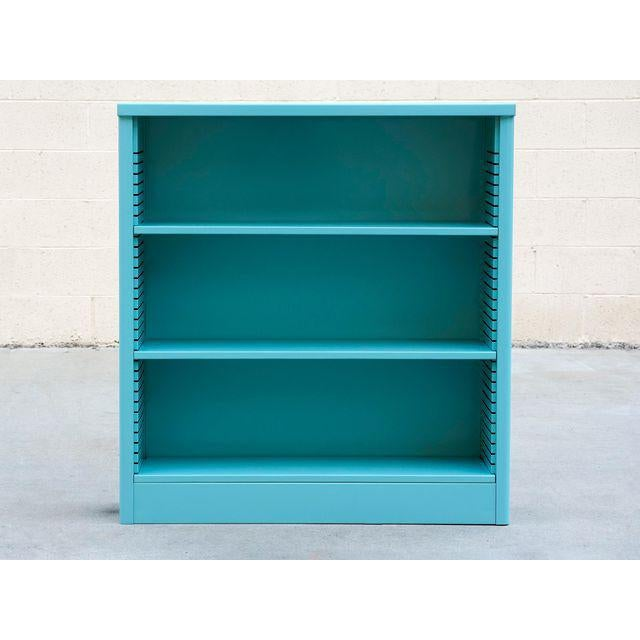 Contemporary 1960s Steel Tanker Style Bookcase in Turquoise, Custom Refinished For Sale - Image 3 of 5