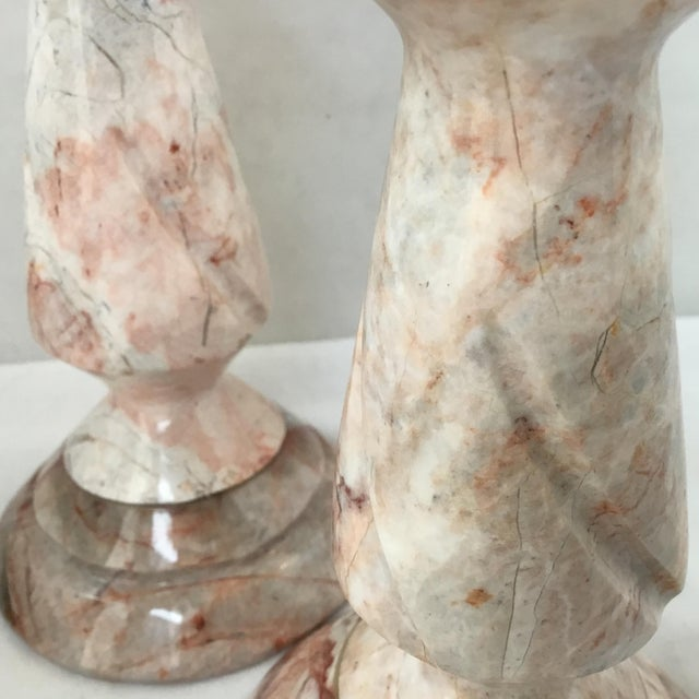 1970s Red Stone Candlesticks - a Pair For Sale - Image 9 of 11