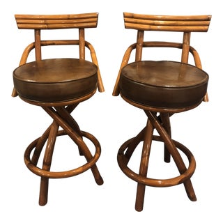 1970s Vintage Rattan Bamboo Swivel Bar Stools - A Pair For Sale