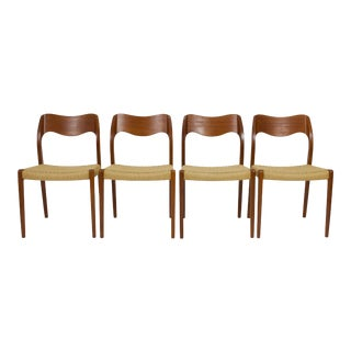 1950s Vintage Niels Moller Teak Dining Chairs- Set of 4 For Sale