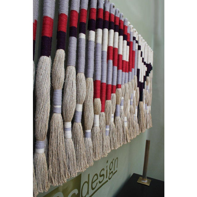 1970s Privately Commissioned Jane Knight Fiber Art Installation 'Red and Gray Wave' For Sale - Image 5 of 8