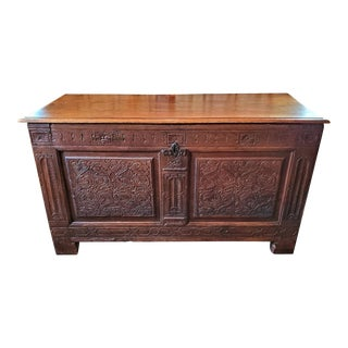 17c English Carved Oak Dowry Chest For Sale